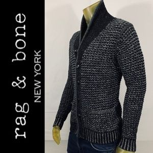 rag & bone  Cotton Shawl Neck Sweater